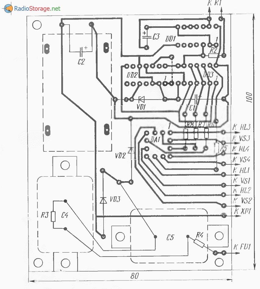 Тиристорный переключатель четырех гирлянд (КУ202, К15ИЕ5, К155ИР1), схема