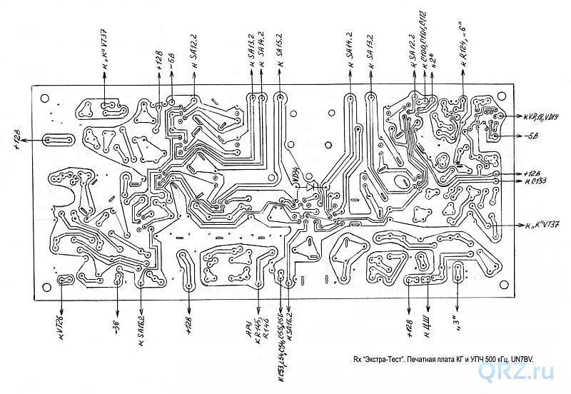Рис.11.14. Печатная плата УПЧ, КГ 500 кГц (вид снизу).