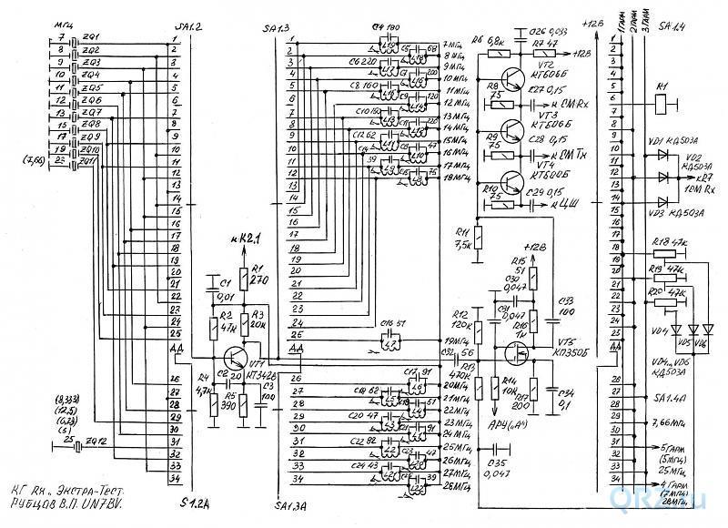 Рис.11.6. Принципиальная электрическая схема приёмника «Экстра-Тест». Схема кварцевого генератора.