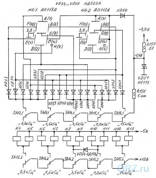 Рис.11.5. Принципиальная электрическая схема приёмника «Экстра-Тест». Схема коммутации и индикации ширины полосы пропускания по ПЧ.