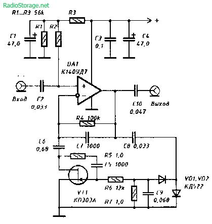 Схема компрессора на ОУ с фильтрами