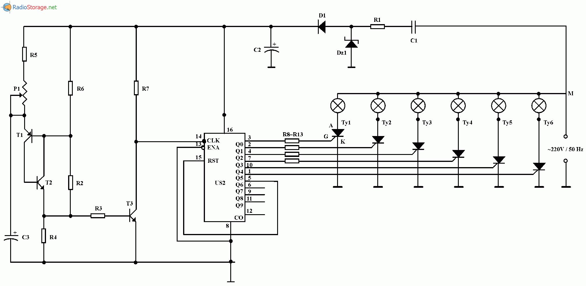 Эффект вращающихся огней на лампах накаливания 220В, схема