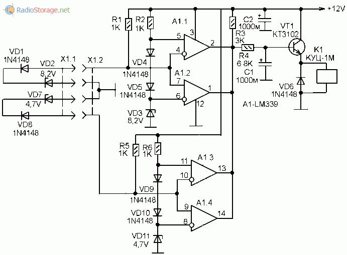 Схема более сложного замка с двойным аналоговым ключом