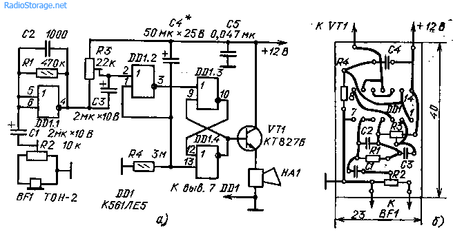 Схемы простых сторожевых устройств (176ЛЕ5)