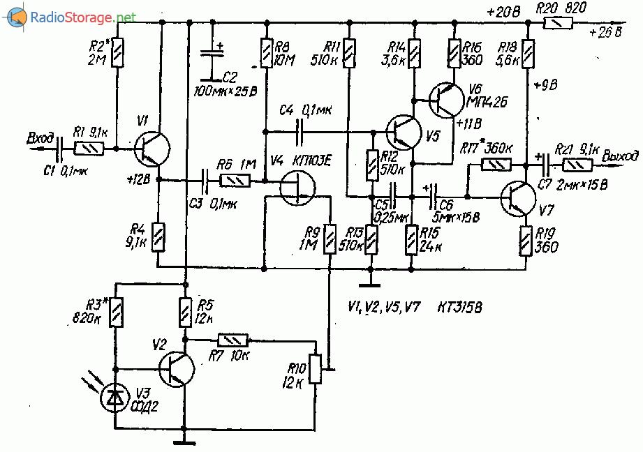 Регулятор громкости управляемый фотодиодом