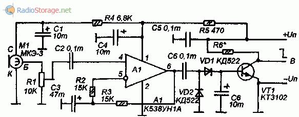 Схема акустического датчика на микросхеме К538УН1