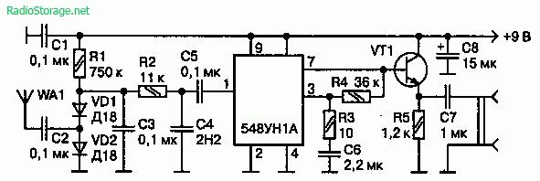 Схема простого детектора радиозакладок разработки Евгения Лесового на 548УН1А (9В, 50кГц-500мГц)