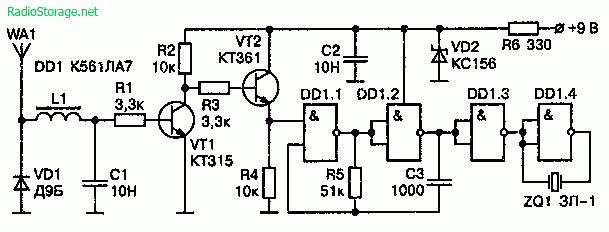 Схема детектора радиоволн (до 500 МГц) на ИМС К561ЛА7
