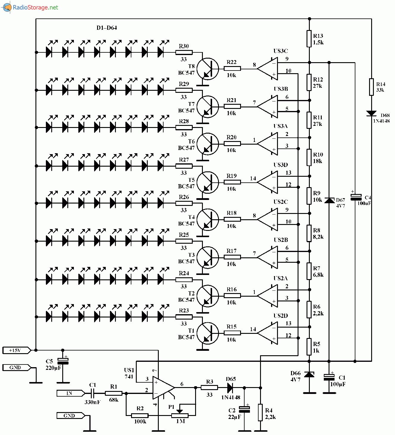Индикатор уровня аудио сигнала на 64 светодиодах, схема