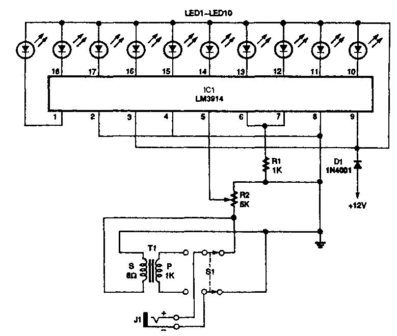 ЛИНЕЙНАЯ ШКАЛА НА СВЕТОДИОДАХ (LM3914)