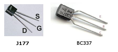 Цоколевка транзисторов J117 и BC337