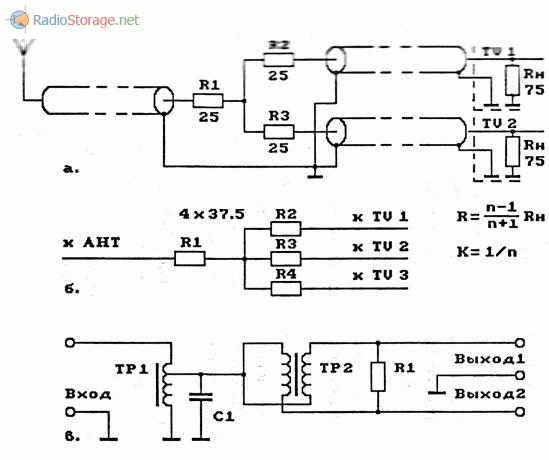 Схемы подключения к антенне нескольких приемников (УКВ и ТВ)