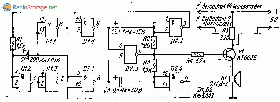 Двухтональныи звонок на двух микросхемах К155ЛА3