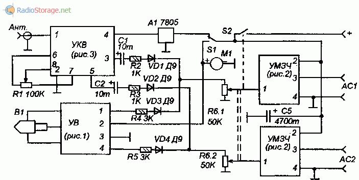 Схема подключения модулей самодельной автомагнитолы
