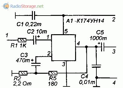 Усилитель мощности на микросхеме К174УН14