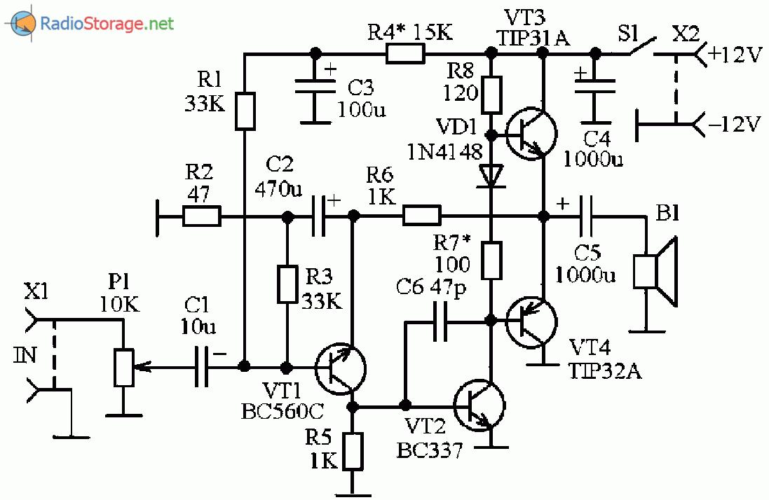 Принципиальная схема простого транзисторного УМЗЧ на TIP31, TIP32 (12В, 3Вт)