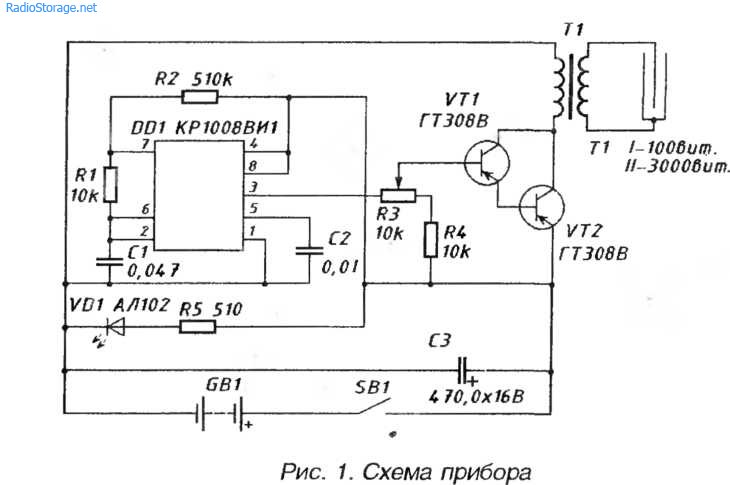 Схема прибора Шмель - для рефлексотерапии