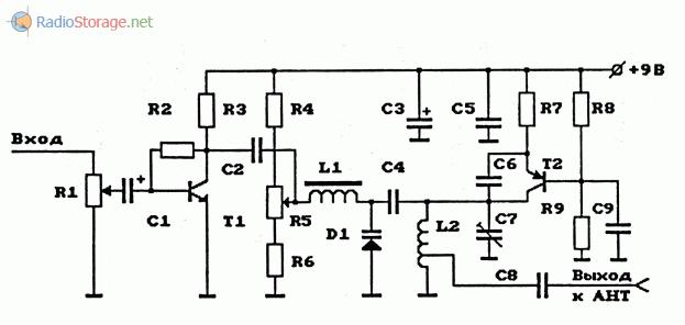 Схема УКВ ЧМ-передатчика на биполярном транзисторе с электронной перестройкой частоты