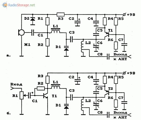 Схемы УКВ ЧМ-передатчиков на биполярных транзисторах