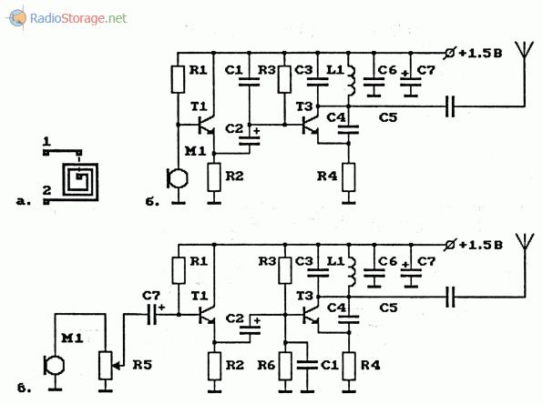 Схема УКВ ЧМ-передатчика с плоской катушкой ВЧ-генератора на биполярном транзисторе