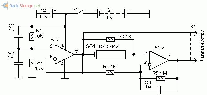 Схема приставки к мультиметру для измерения концентрации угарного газа