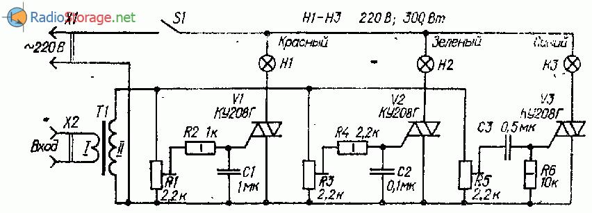 Светомузыкальная установка на трех симисторах