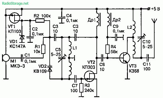 Мощный УКВ ЧМ передатчик на трех транзисторах (5В, дальность 300м)