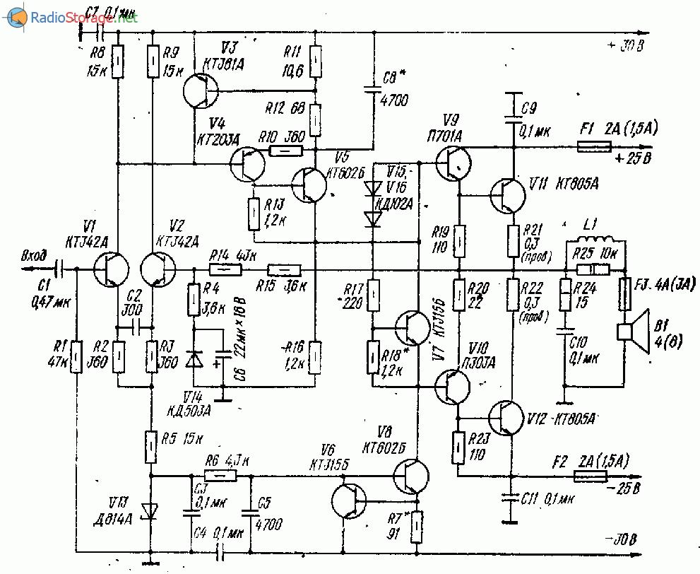 Термостабильный усилитель с малыми динамическими искажениями (26 Ватт)