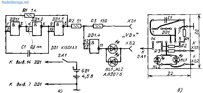 Схема испытателя диодов на К155ЛА3