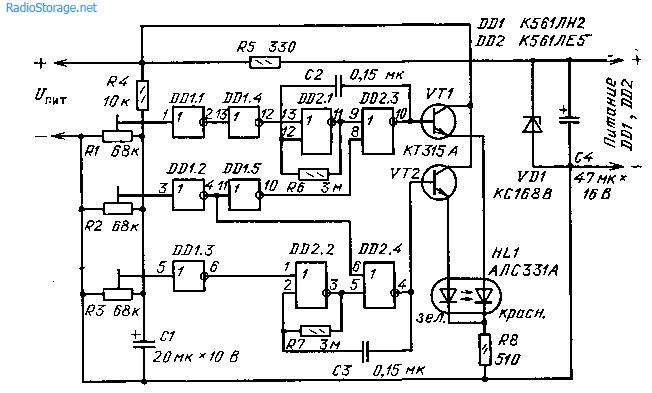 Индикатор напряжения бортовой сети автомобиля на микросхемах