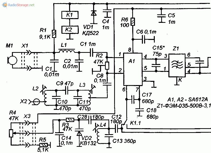 Принципиальная схема основного блока трансивера на 160м