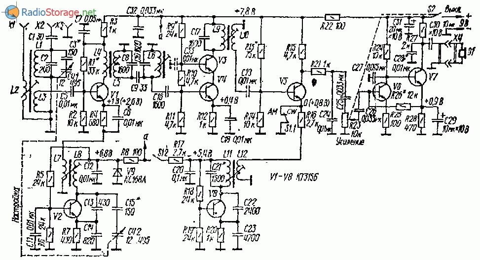 Любительский приемник на диапазон 160м (8 транзисторов)