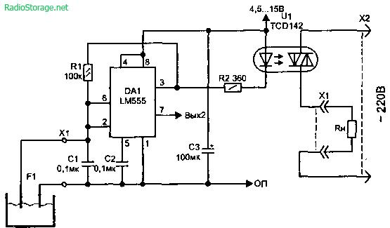 Датчик воды на основе автогенератора схема
