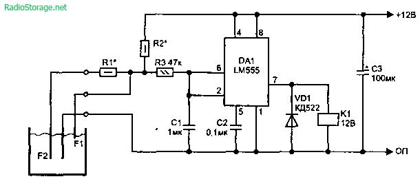 Сигнализаторы уровня воды на микросхемах-таймерах