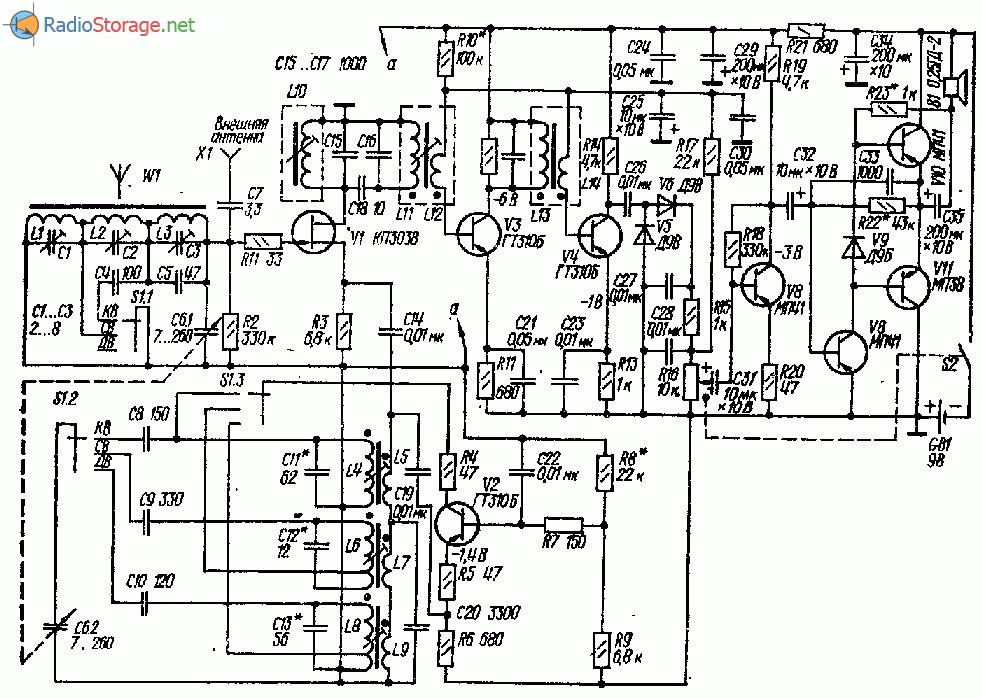 Приемник на три диапазона ДВ-СВ-КВ (8 транзисторов)