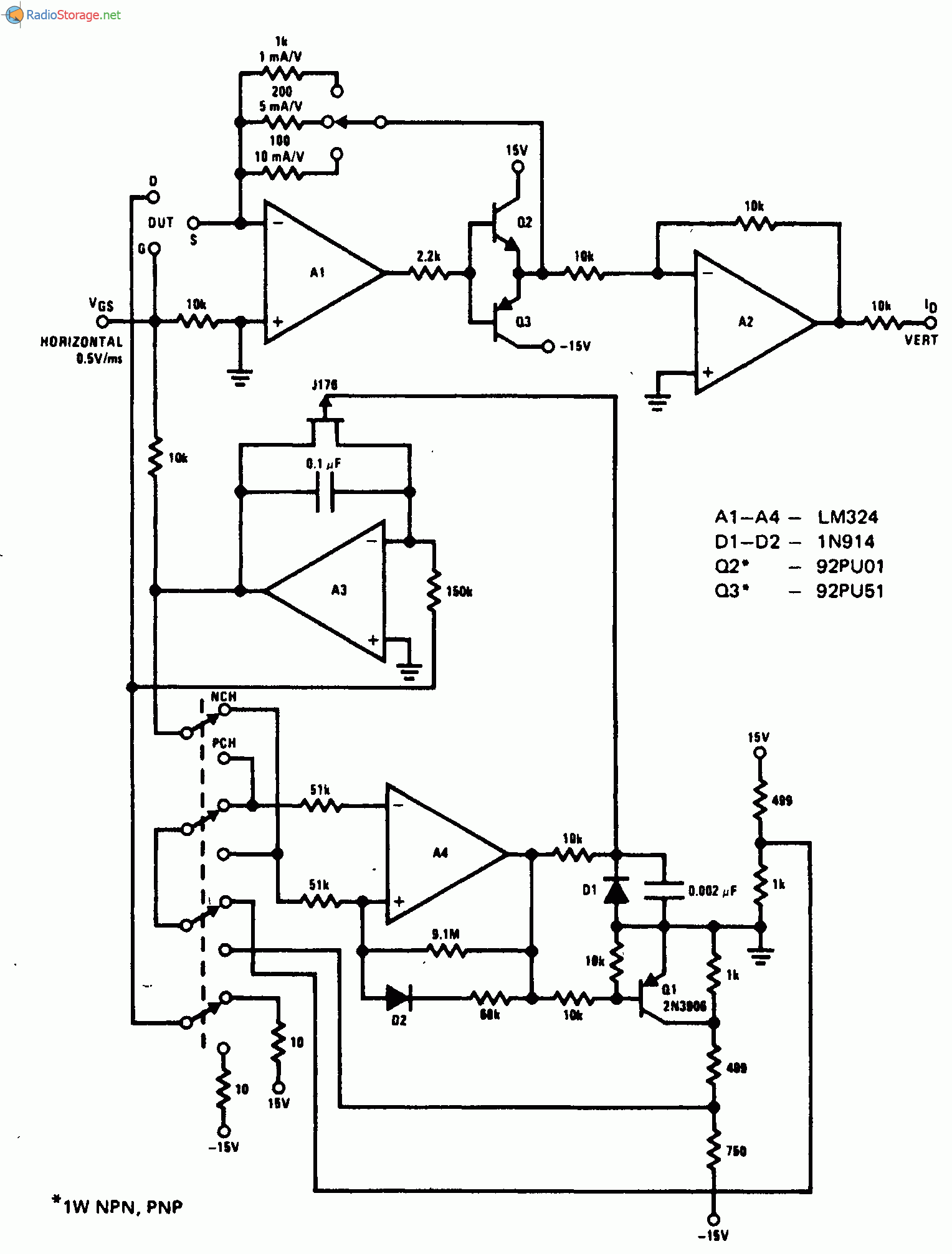 Электронная схема Характериограф для полевого транзистора
