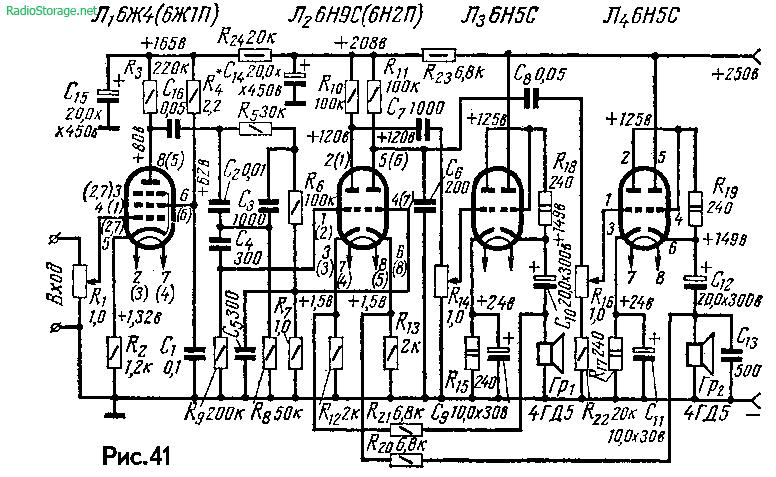 Двухканальный ламповый усилитель А. Слонима на 6Ж1П, 6Н9С, 6Н5С (4Вт)