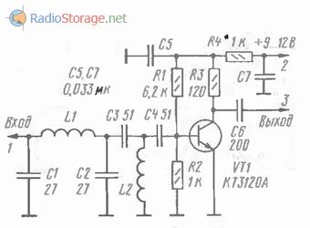 Принципиальаня схема антенного усилителя для УКВ приемников