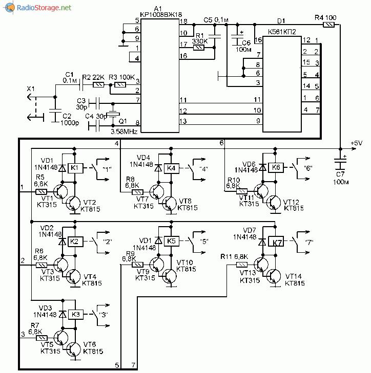 Принципиальная схема блока дистанционного управления на основе GSM телефона или УКВ рации