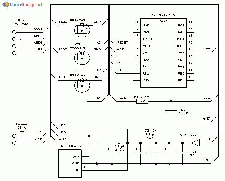 Принципиальная схема контроллера RGB светодиодной ленты или гирлянды
