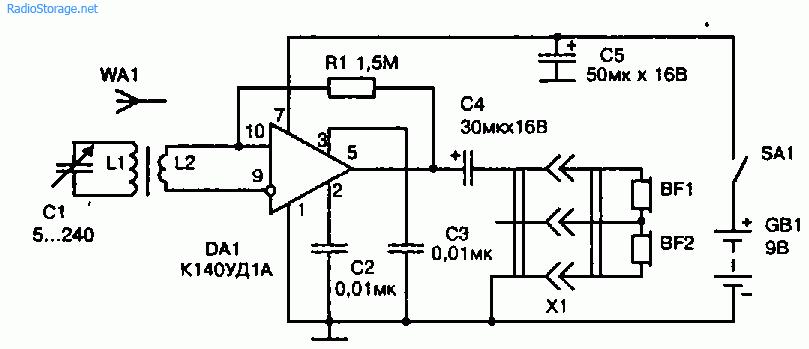 Схема простого радиоприемника на микросхеме К140УД1А