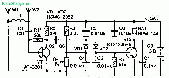 Схема индикатора излучения от GSM телефона (радиус обнаружения до 10 м)