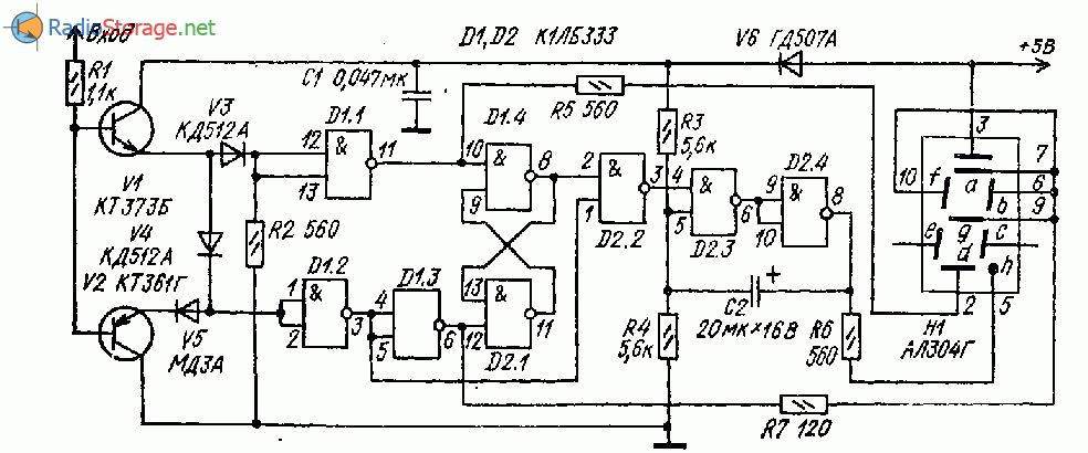 Простой логический пробник с цифровым индикатором на АЛ304