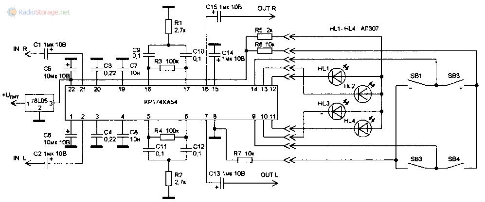 Принципиальная схема включения микросхемы регулятора громкости, тембра и баланса КР174ХА54