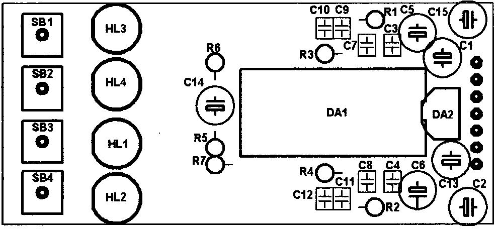 Схема расположения элементов на плате регулятора для КР174ХА54