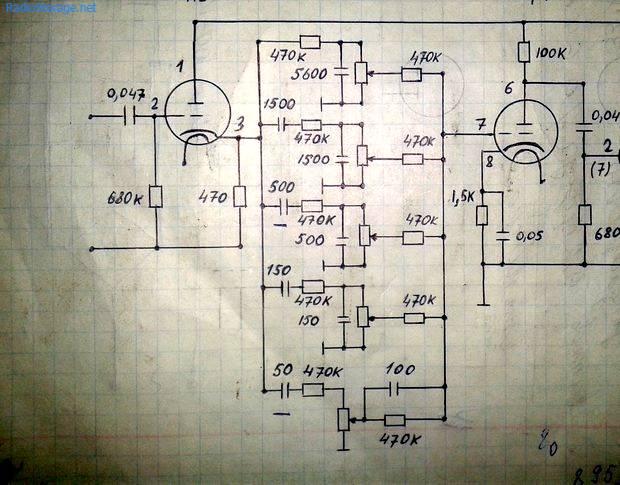 Простой пятиполосный регулятор тембра на двух лампах