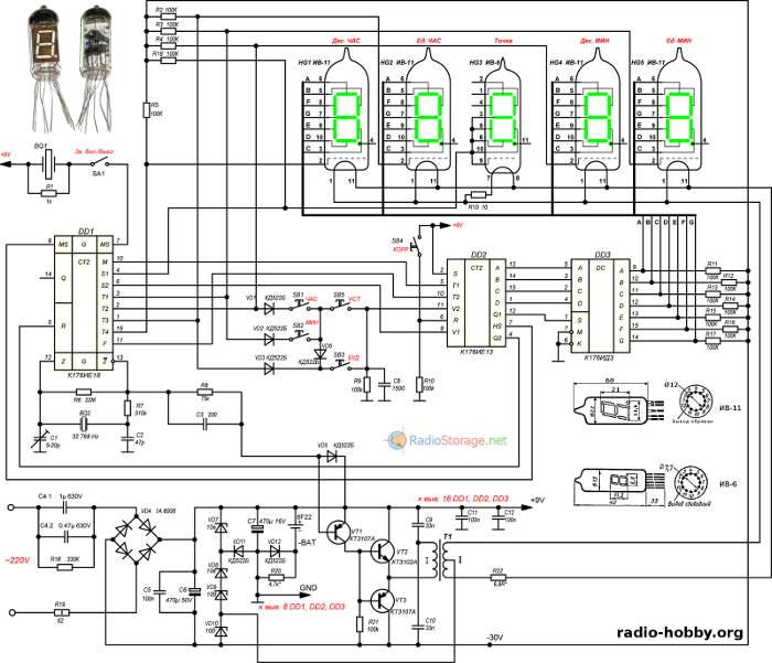 Принципальная схема самоедльных часов на люминесцентных индикаторах ИВ-11