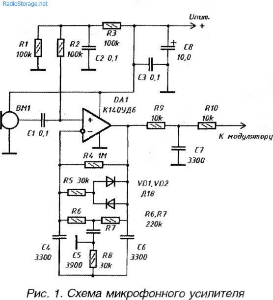 Микрофонный усилитель-компрессор для УКВ ЧМ-передатчика