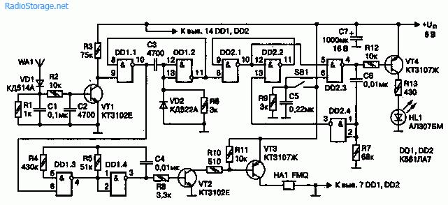 Схема датчика излучения сотового телефона