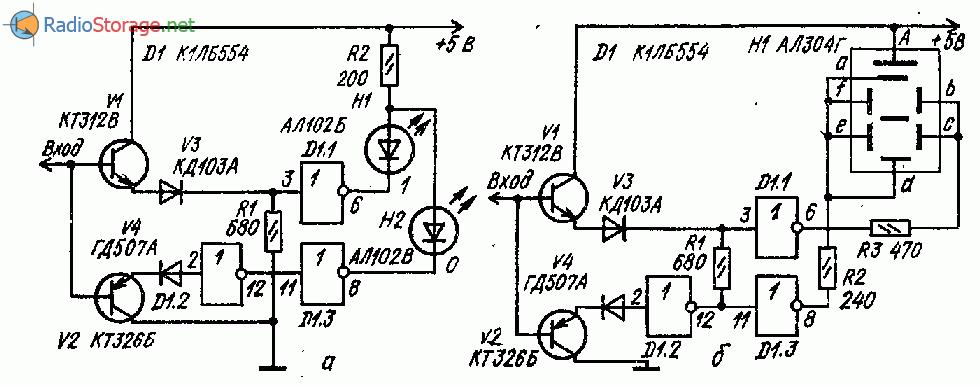 Две схемы логического пробника на одной микросхеме